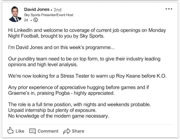 Sky Sports LinkedIn Job Ad