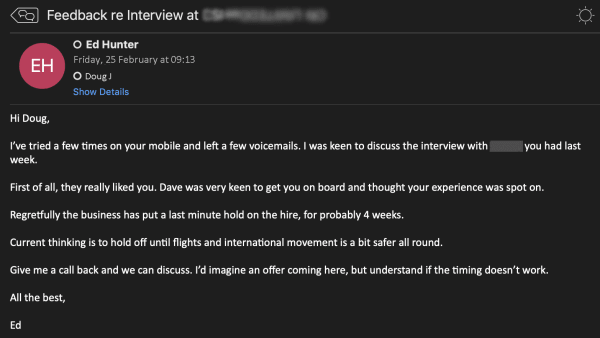 Ed Hunter Interview Feedback Email