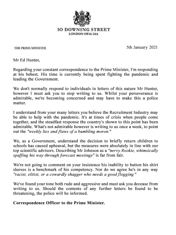 Letter from Boris Johnson to Ed Hunter