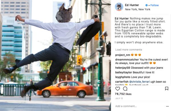 Ed Hunter Instagram Influencer Marketing TM Lewin