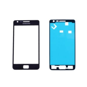 Black Front Glass Lens And Adhesive Sticker For Galaxy S2