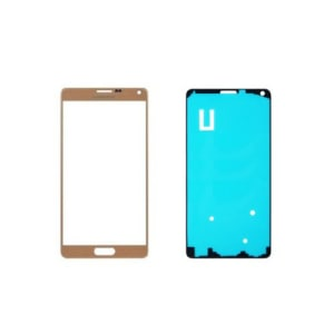 Gold Front Glass Lens And Adhesive Sticker For Galaxy Note 4