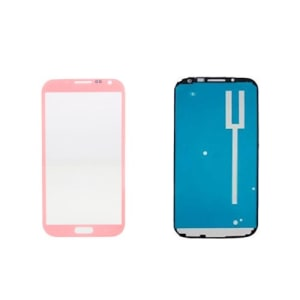 Pink Front Glass Lens And Adhesive Sticker For Galaxy Note 2