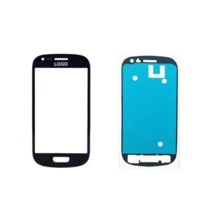 Black Front Glass Lens And Adhesive Sticker For Galaxy S3 Mini