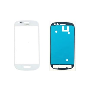 White Front Glass Lens And Adhesive Sticker For Galaxy S3 Mini