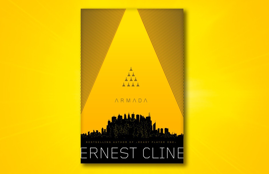 A bright yellow book cover with a cityscape at the bottom. The cityscape form the bottom edges of a giant A, with a set of small spaceships forming the A's cutout