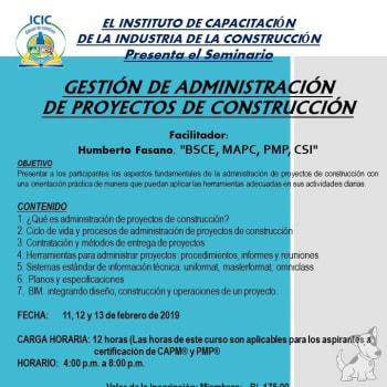 Seminario: Gestión de administración de proyectos de construcción