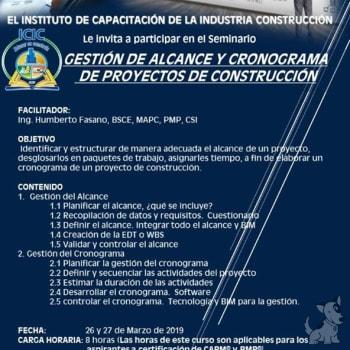 """Seminario """"Gestión de Alcance y Cronograma de Proyectos de Construcción"""""""