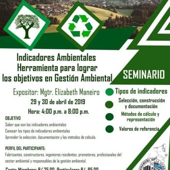 """Seminario """"Indicadores Ambientales Herramienta para lograr los objetivos en Gestión Ambiental"""