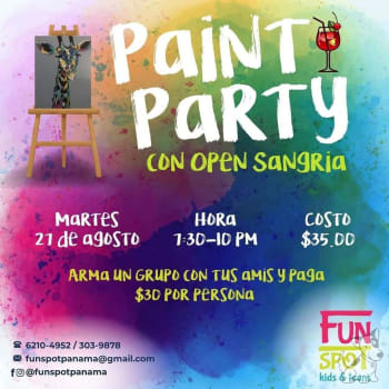 Paint party con open sangría