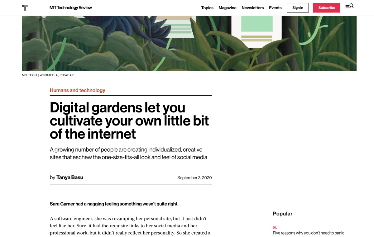 A feature about digital gardening on MIT's tech review