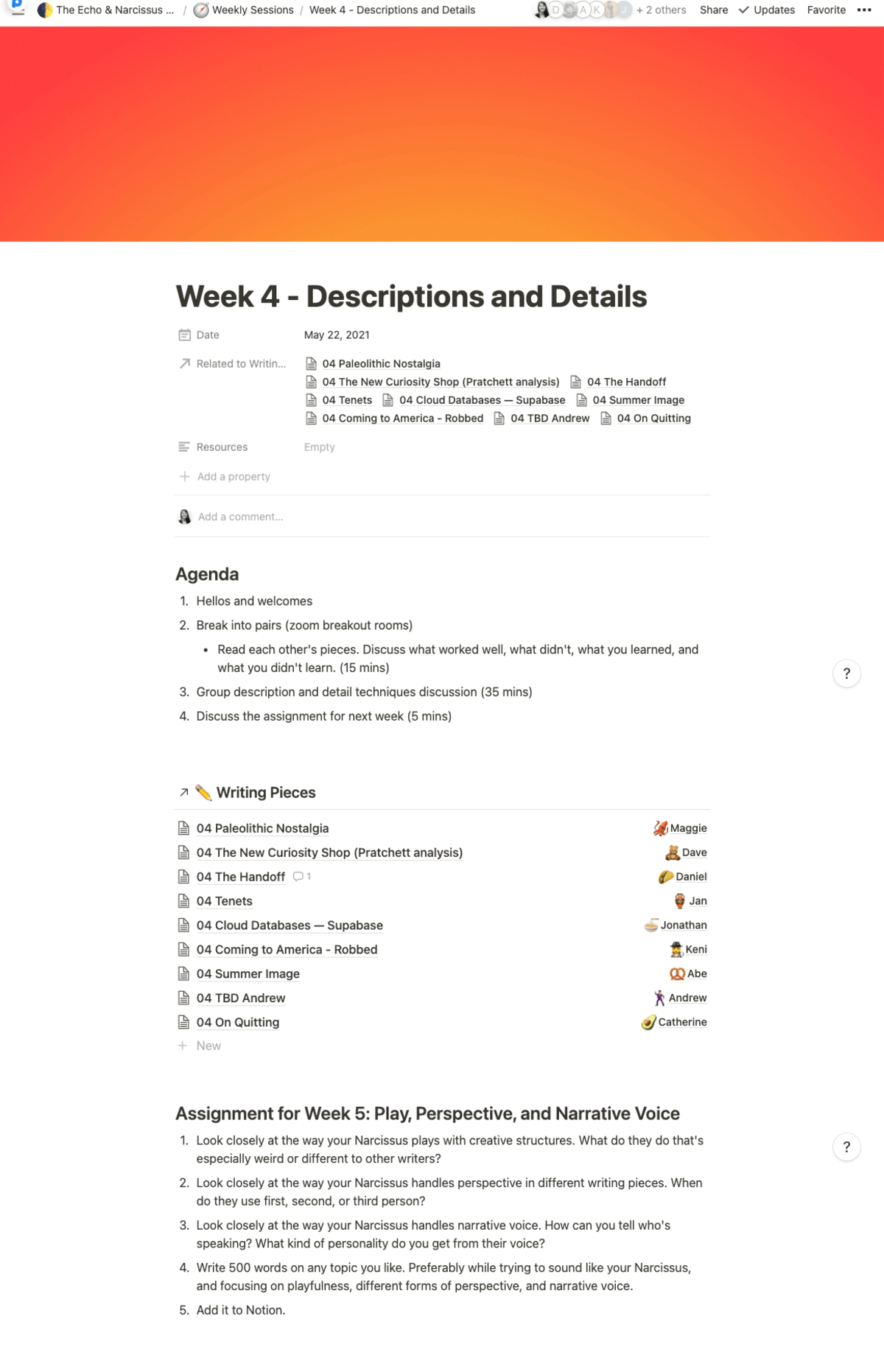 The agenda, writing pieces, and homework assignment for week 4 of the club