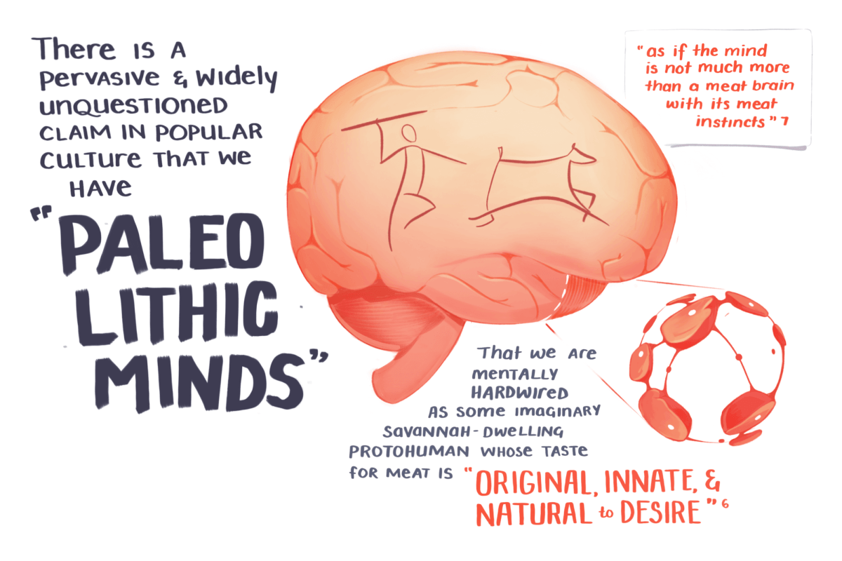 There is a pervasive and widely unquestioned claim in popular culture that we have paleolithic minds. That we are mentally hardwired as some imaginary savannah dwelling protohuman whose taste for meat is 'original, innate, and natural to desire'