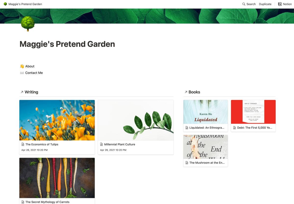 My example digital garden in Notion