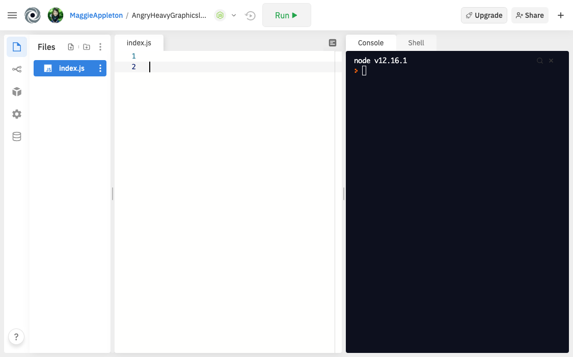 repl.it slpit screen interface
