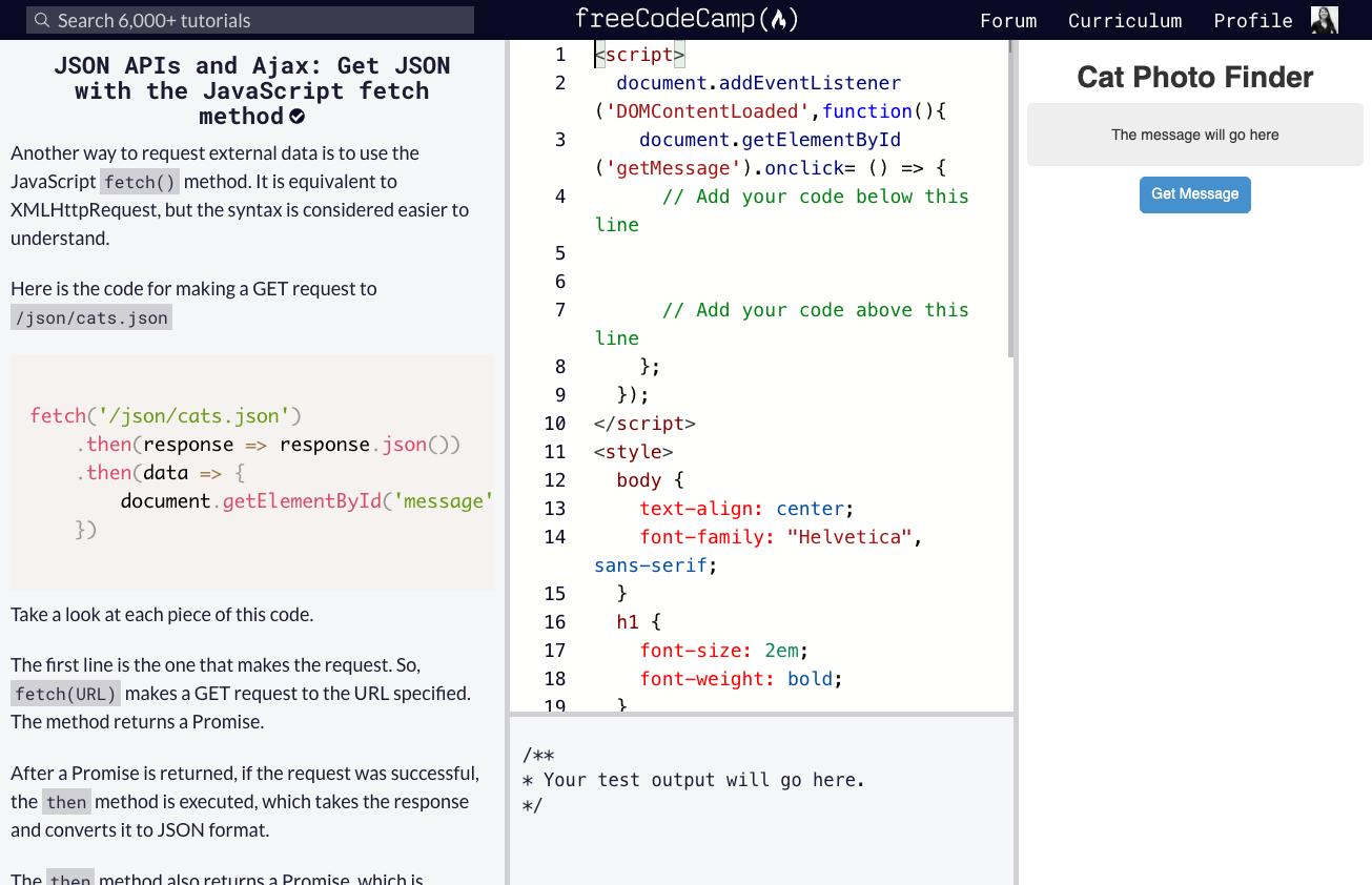 free code camp split screen interface