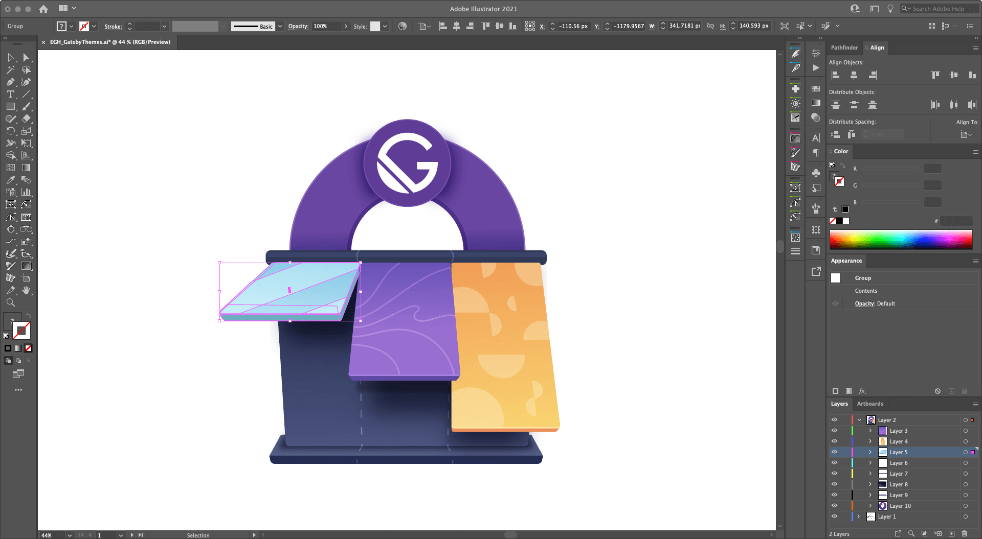 A screenshot of my Adobe Illustrator setup with one of my illustrations on the canvas