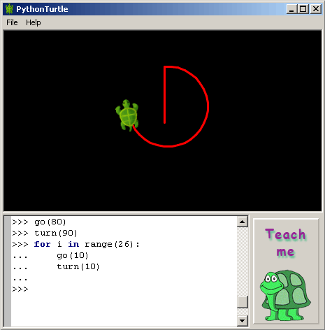 A classic example of a logo-based interface where you direct a small turtle around a canvas. Source: pythonturtle.org