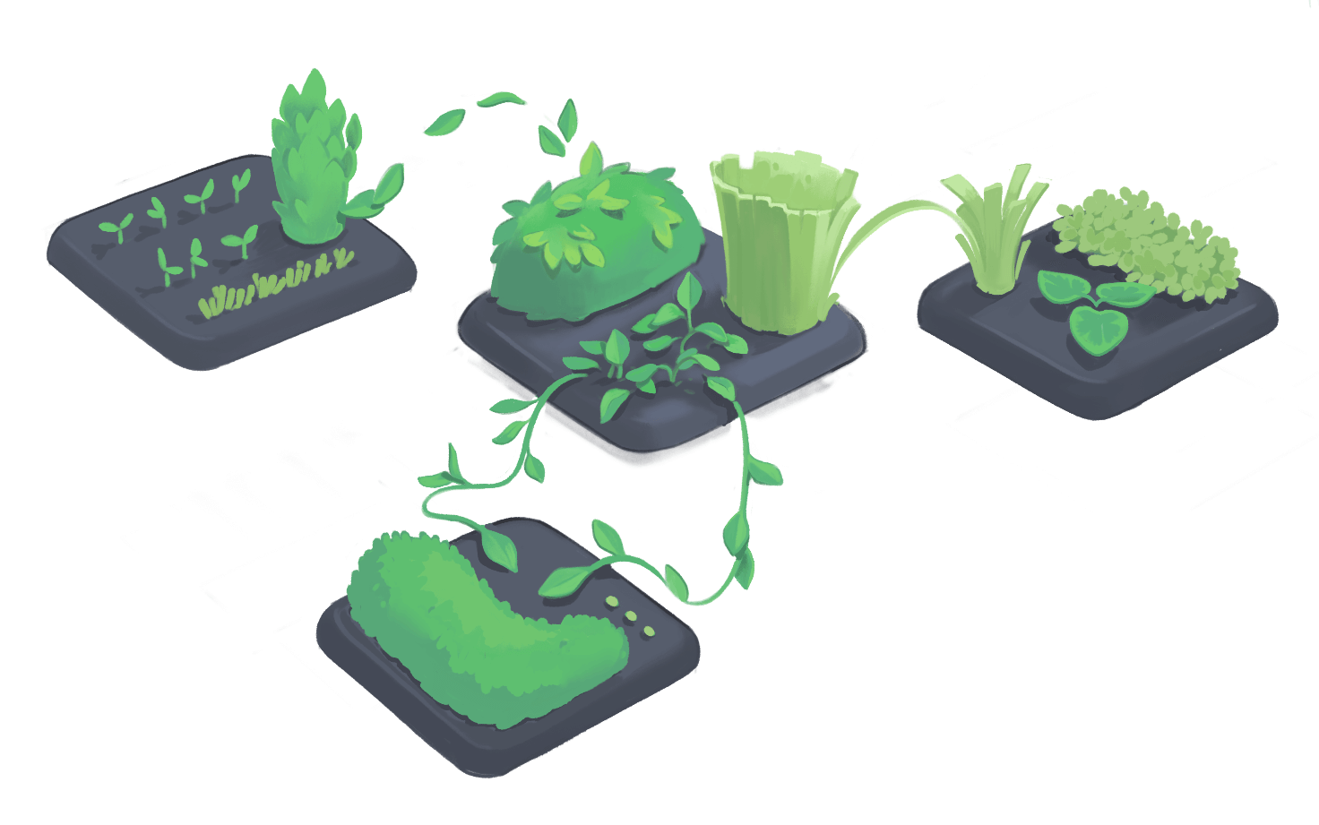 A set of gardens with plant life moving between them