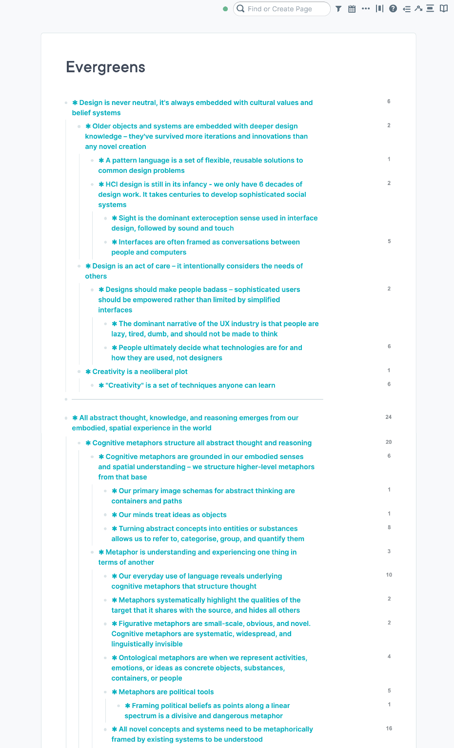 Screencapture of my evergreen notes page showing a selection of the notes