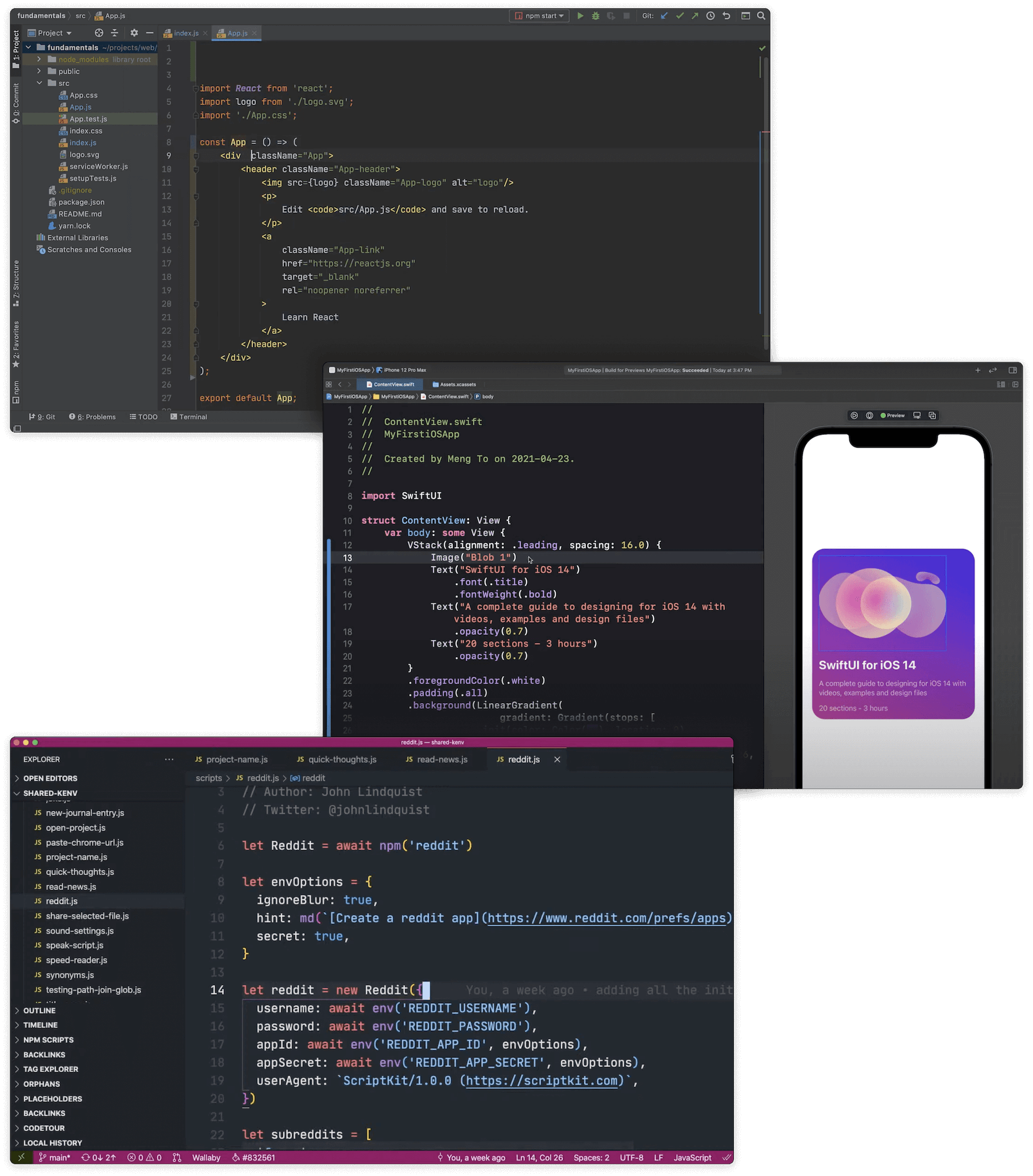 The standard text-heavy interfaces of WebStorm, xCode, and VSCode