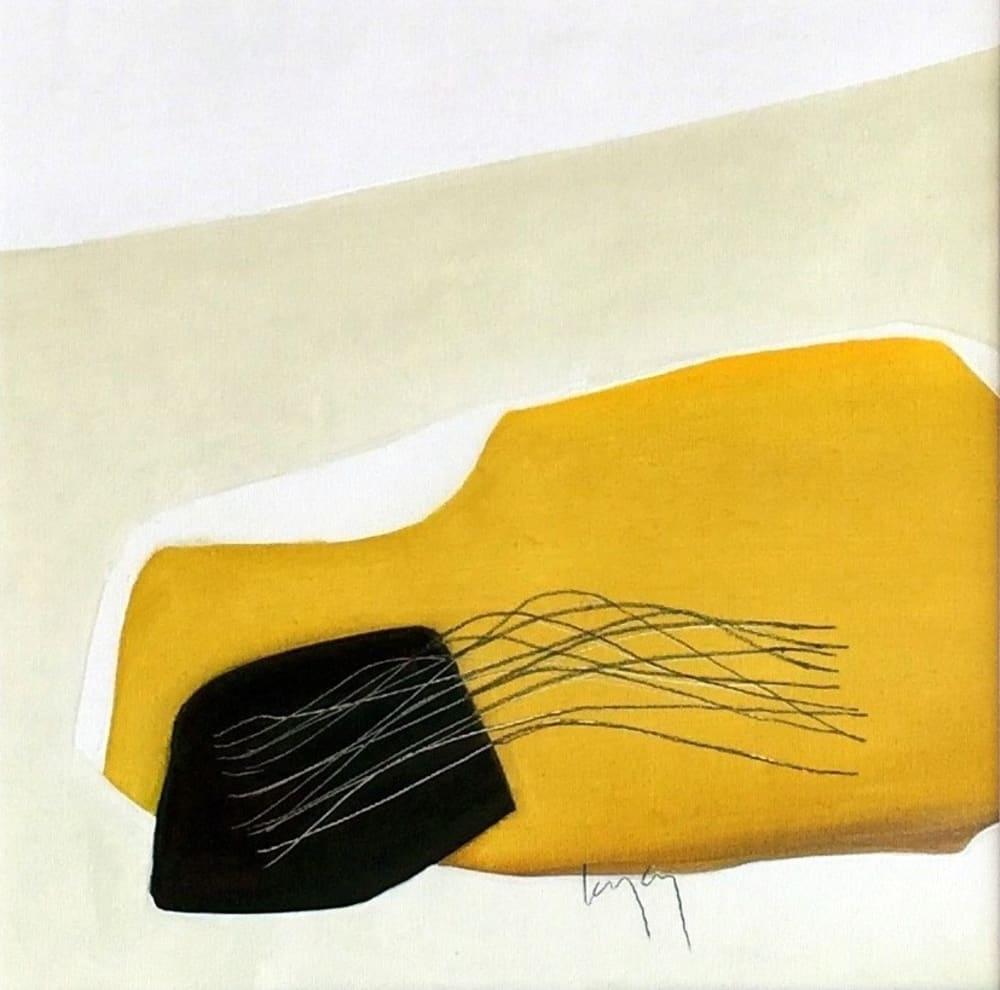 Herbe peignée champs jaune - Nathalie Leverger