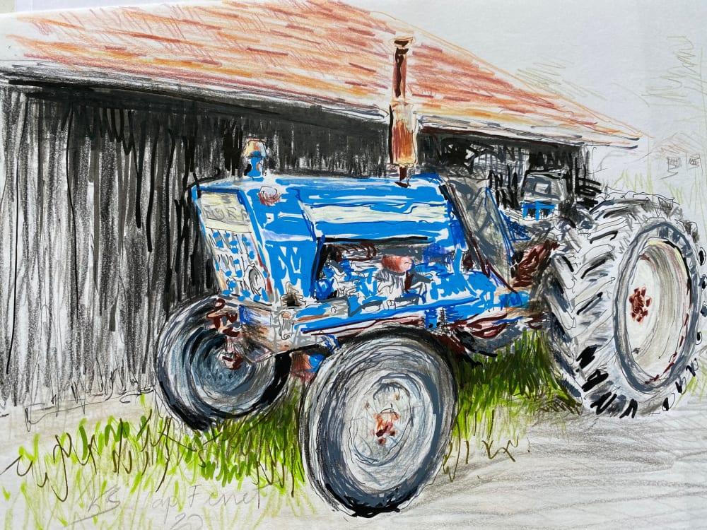 Le tracteur bleu - cap Ferret  - Karin Boinet