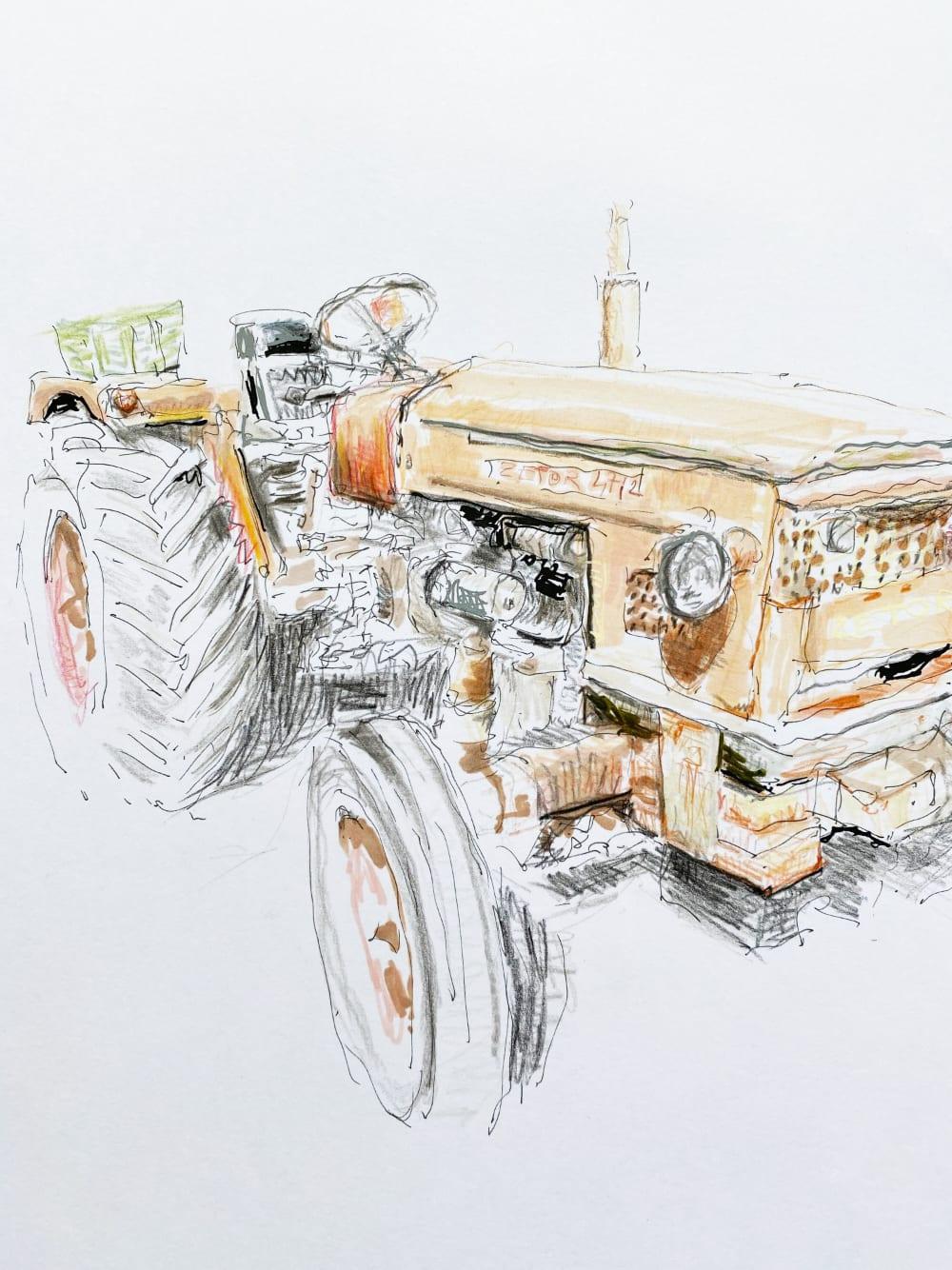 Le tracteur orange - cap Ferret  - Karin Boinet