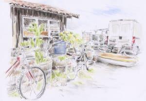 La cabane et les vélos de Karin Boinet