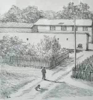 L'entrée au village  de Dominique Lecomte