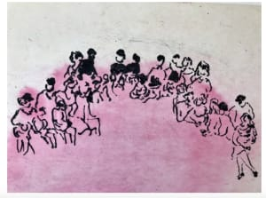 Banquet de famille rose  de Nathalie  Grenier