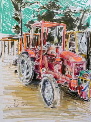 Le tracteur rouge - cap Ferret  de Karin Boinet
