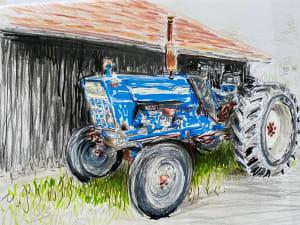 Le tracteur bleu - cap Ferret  de Karin Boinet