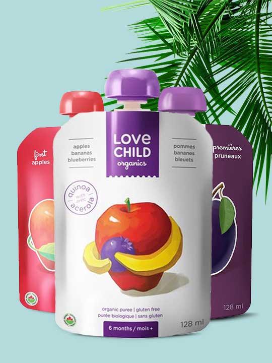 Purées biologiques pour bébé par Love Child Organics. Livraison gratuite au Québec et en Ontario