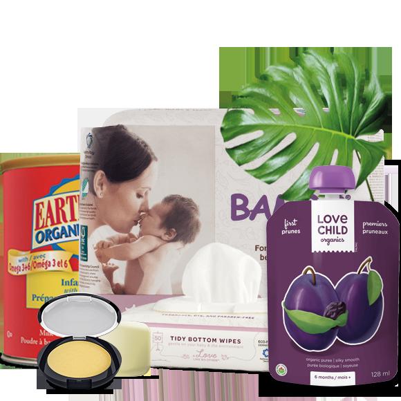 Abonnements de couches, lingettes, soin de la peau, lait et nourriture biologique pour bébé