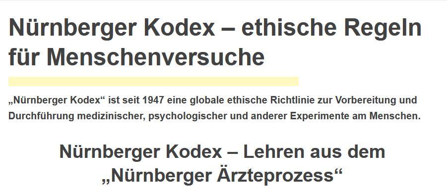 Nürnberger Kodex – ethische Regeln für Menschenversuche