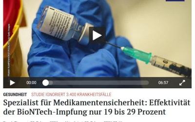 Spezialist für Medikamentensicherheit: Effektivität der BioNTech-Impfung nur 19 bis 29 Prozent