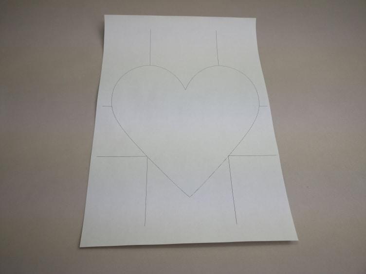 A4 vel met een geprint hartje.