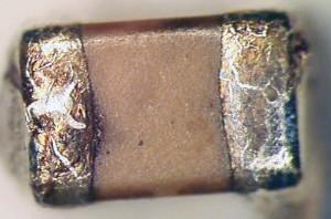 MLCC damaged, exposing the electrodes