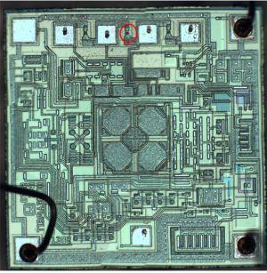 Red circle indicates bad transistor