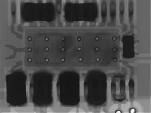 X ray of failed device, irregular solder below die