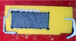 Cross section of tantalum capacitor showing internal structure