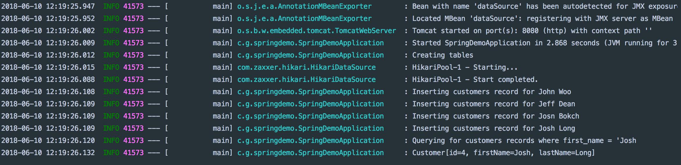 Spring Boot基础学习记录之使用JDBC访问关系数据