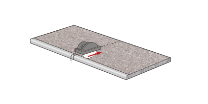 The best results will be achieved by cutting the worktop with a tolerance of +5mm, using a portable power saw (with the decorative side face down) or with a hand saw (decorative side face up).