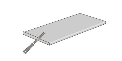 Use a fine-toothed file to smooth the edge until flush with the worktop.