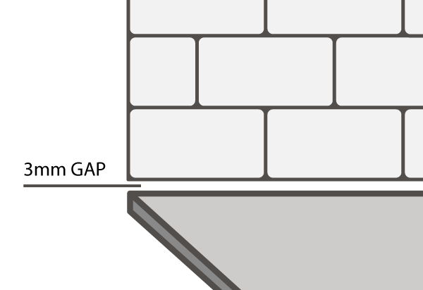 A small gap of at least 3mm is advisable if you wish to fit tiles above your solid FENIX NTM® worktop.