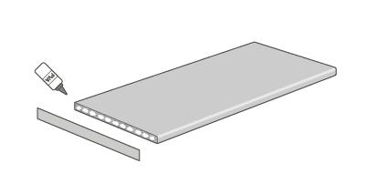 Die Umleimer können durch Auftragen eines PVA-Klebers - oder eines Allzweck-Kontaktklebers wie Evo-Stik oder Bostik - direkt auf der Arbeitsplattenkante angebracht werden.