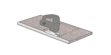Markieren/Zeichnen Sie den auszuschneidenden Bereich auf der Dekorseite der Arbeitsplatte und bohren Sie ein Loch in jede der vier Ecken des Ausschnitts.