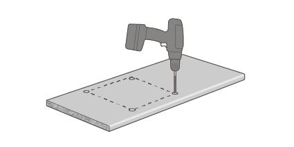Bohren Sie von der Dekorseite aus alle Ecken mit einem Bohrer von mindestens 10mm Durchmesser an (scharfe Innenecken können zu Rissen in der FENIX NTM® Verbund Oberfläche führen).
