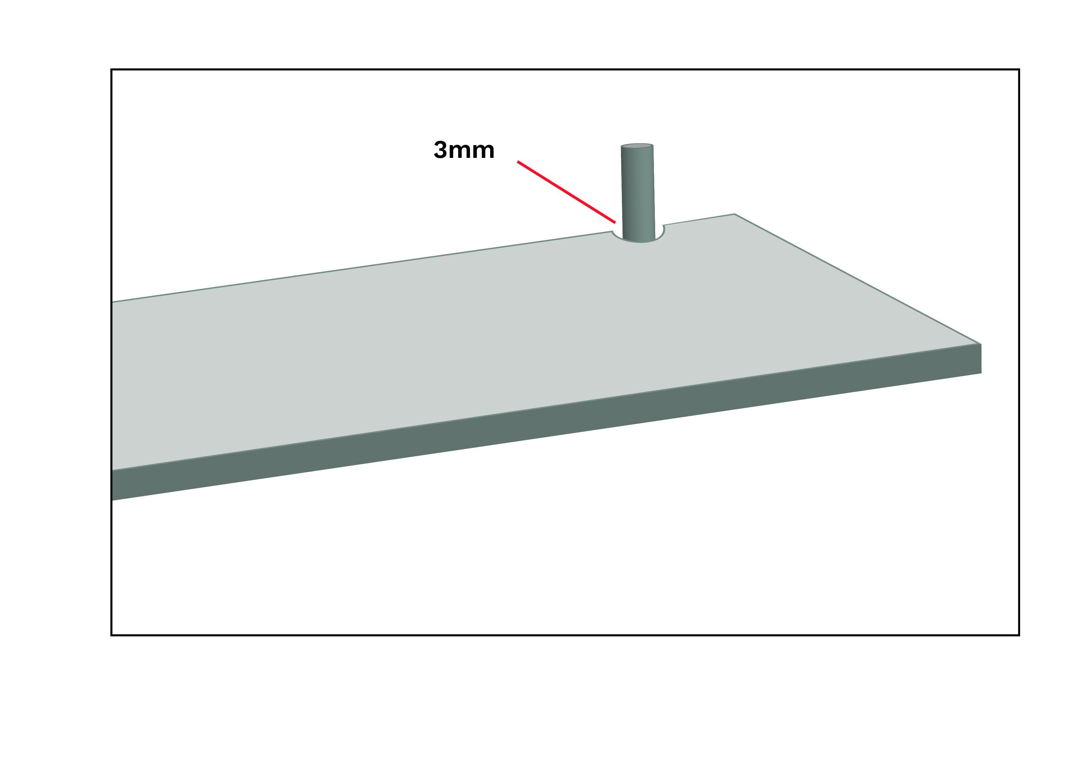 Um sicherzustellen, dass sich die Oberfläche ausdehnen und zusammenziehen kann, sollte um die Rohrlöcher herum ein Abstand von mindestens 3mm eingeplant werden.